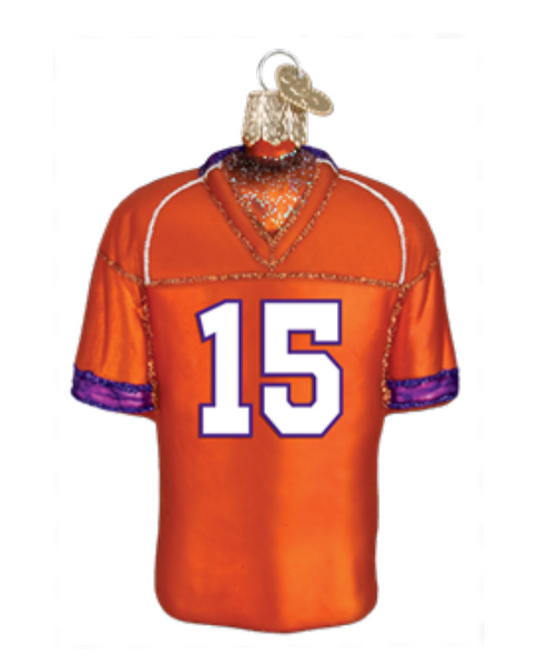 Clemson Football Jersey Glass Ornament