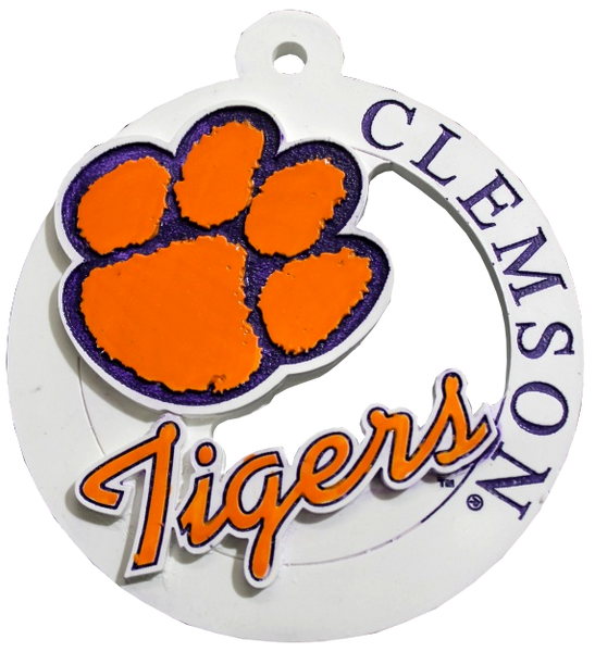 Clemson University Offset Paw Ornament
