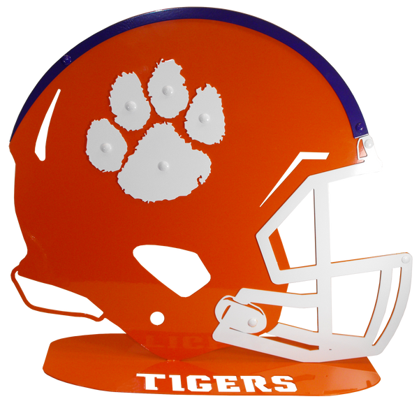 Clemson University Orange Metal Football Helmet