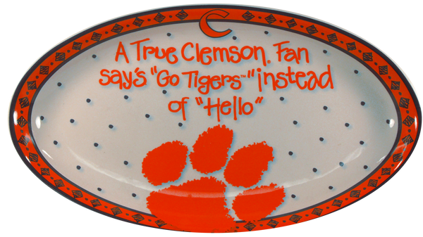 Clemson University Ceramic Oval True Fan Platter