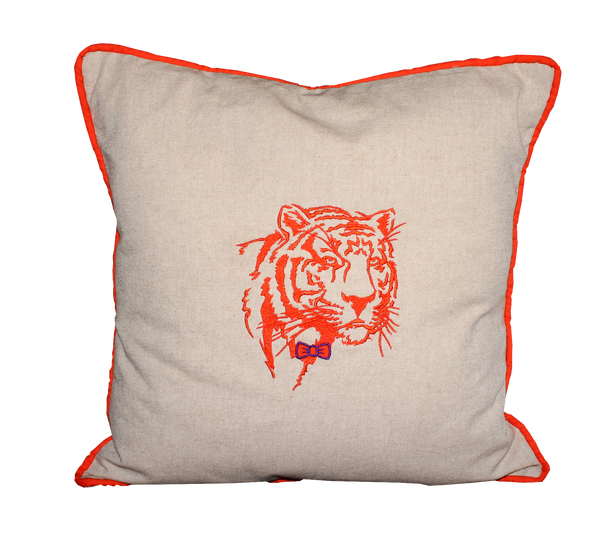 Clemson Tiger Face Handmade Embroidered Pillow