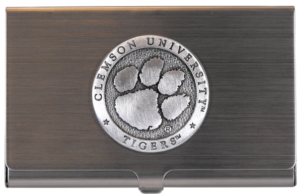 Clemson University Pewter Business Card Case