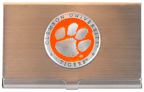 Clemson University Orange Enamel Pewter Business Card Case