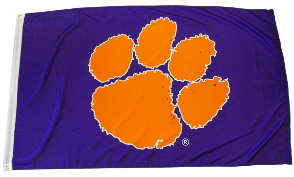 Clemson University Heavy Duty Tiger Paw Flag - Purple
