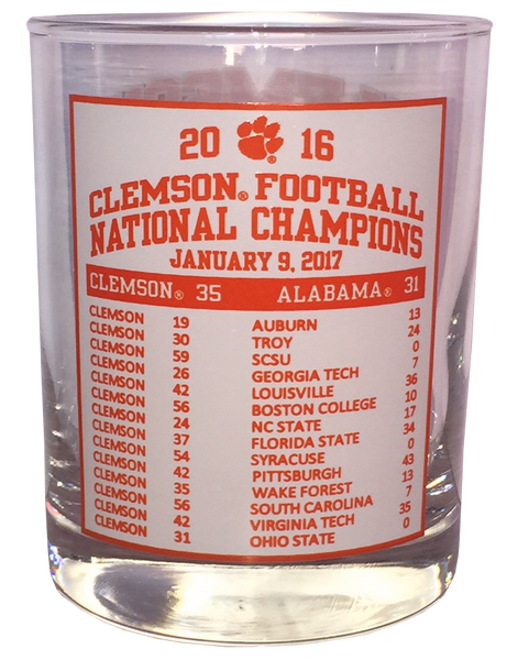 Clemson Tigers Natty 14oz Drink Glass - Schedule Back