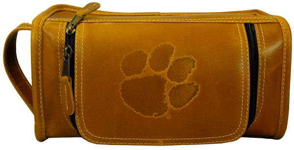 Clemson University Saddle Leather Travel Kit