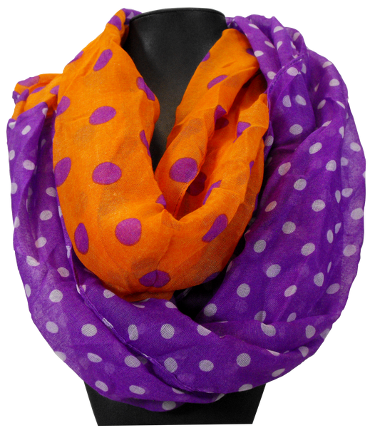 Clemson Orange and Purple Infinity Scarf