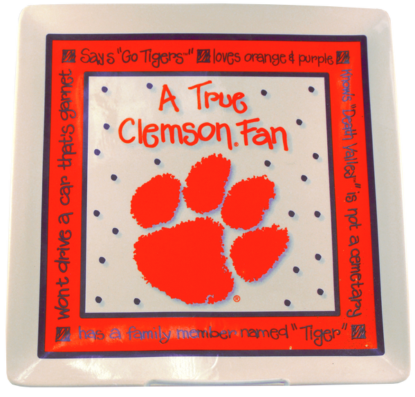Clemson University Square True Fan Plate
