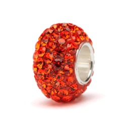 Clemson Orange Crystal Bead Charm