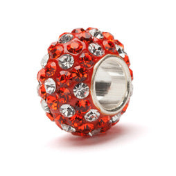Clemson Orange and Clear Spotted Crystal Bead Charm