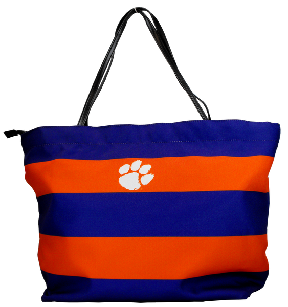 Clemson Striped Tote Bag with Removable Liner