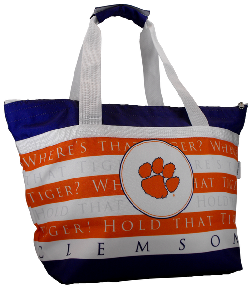 Clemson Striped Cooler Tote