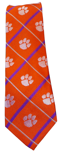 Clemson Tie - Orange/Purple/Paw