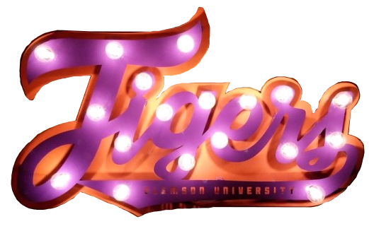 Clemson Tigers Lit Script Sign