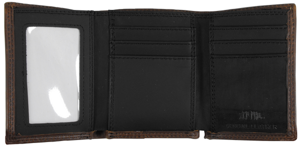 Clemson Black and Brown Leather Trifold Wallet