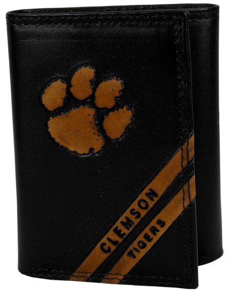 Clemson University Embossed Leather Trifold Wallet