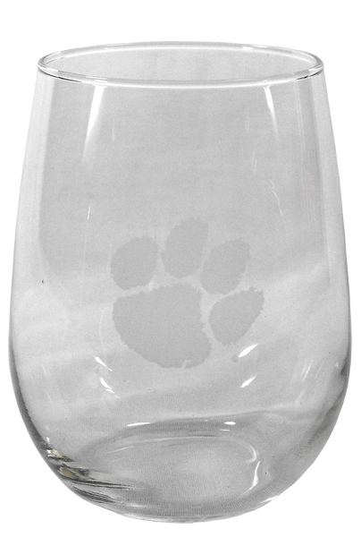 Clemson Deep Etch Stemless Wine Glass