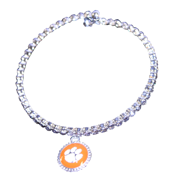 Clemson Orange Pendant and Rhinestone Bracelet