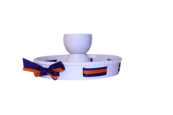 Ceramic Cake Stand with Ribbon Accent