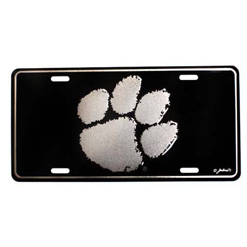 Clemson Silver on Black License Plate
