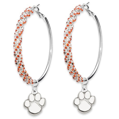 Clemson Paw and Crystal Hoop Earrings