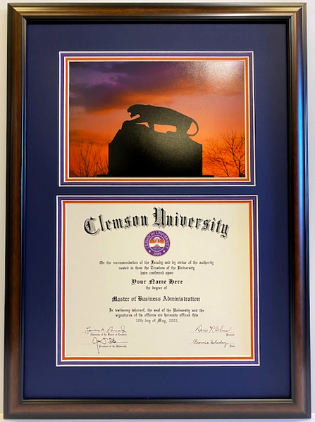 Clemson Diploma Frame Tiger On The Rock #35