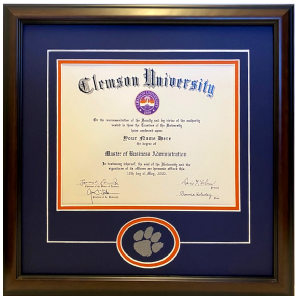 Clemson Diploma Frame Tiger Paw Readymade