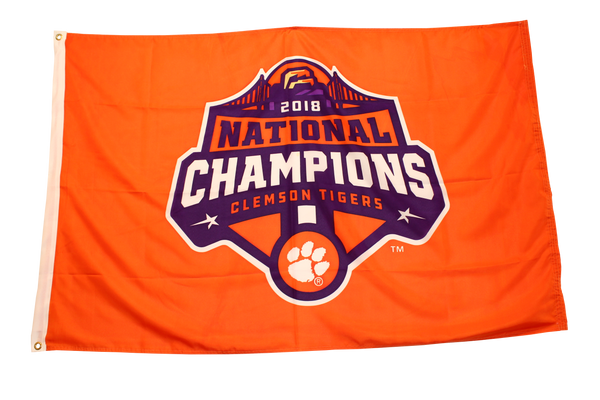 Clemson University 2018 National Champion Logo Flag