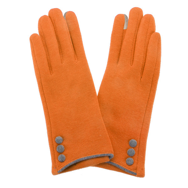 Clemson Ladies Orange and Button Trim Smart Touch Gloves