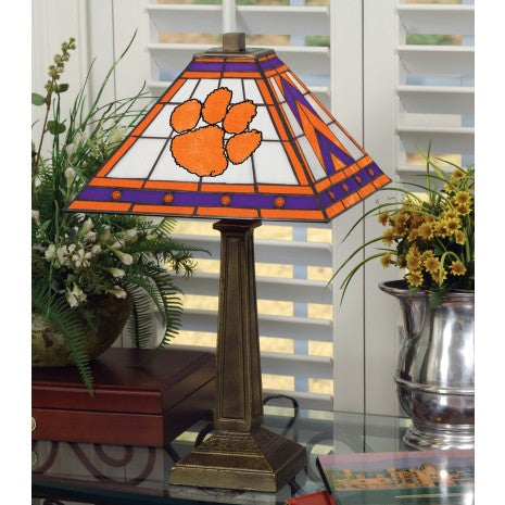 Clemson Stained Glass Mission Style Table Lamp