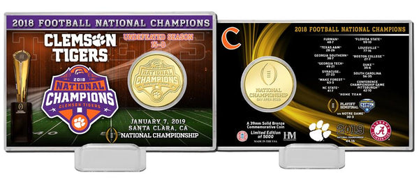 Clemson Tigers 2018 Football National Champions Bronze Coin