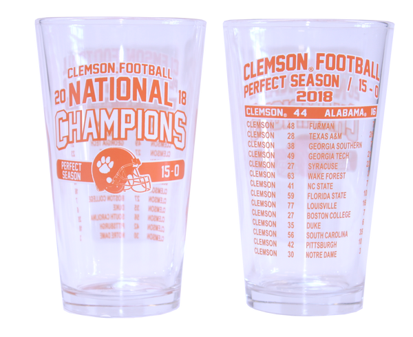 Clemson 2018 National Champions Schedule Beverage Glass