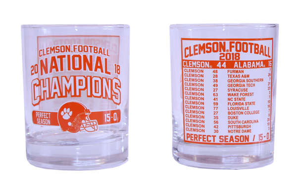 Clemson 2018 National Champions Schedule Rocks Glass