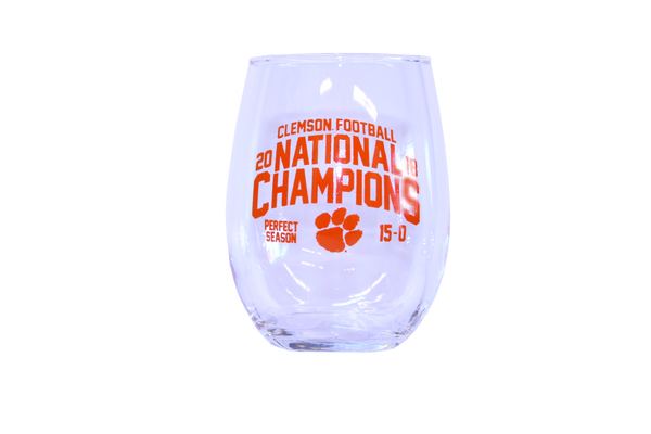 Clemson 2018 National Championship Stemless Wine Glass