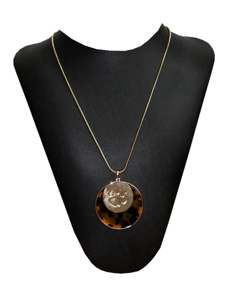 Tortoise Shell & Paw Medallion Necklace