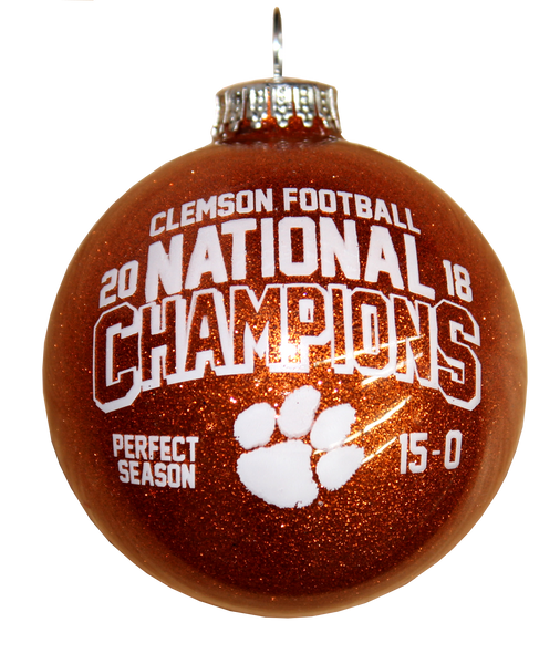 Clemson University 2018 National Champions Glitter Ball Ornament