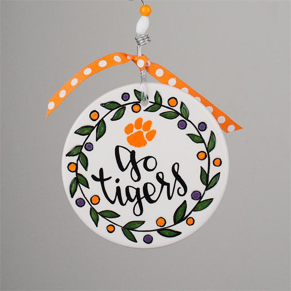 "Clemson Ceramic ""go tigers"" Ornament"