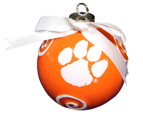 Clemson Ceramic Ornament with Swirls