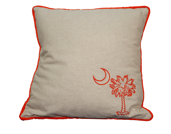 Clemson Palmetto and Moon Handmade Embroidered Pillow