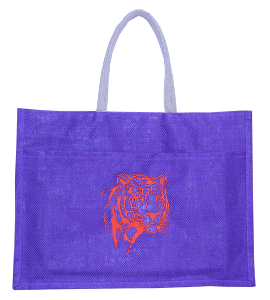 Clemson Purple Jute Tiger Face Tote Bag