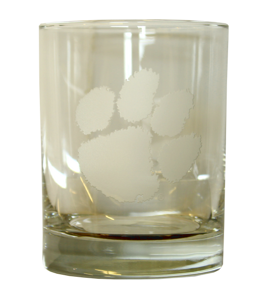 Clemson Deep Etch 14 Oz. Rocks Glass