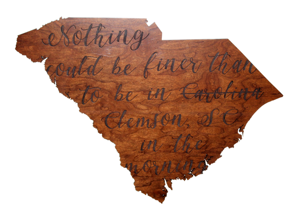 Wooden South Carolina Silhouette Sign