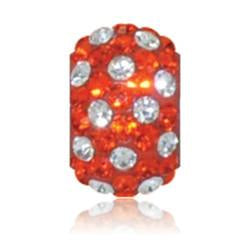 Clemson Sparkle Charm -Orange and White Polka Dot