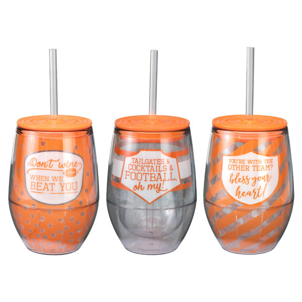 Clemson Tailgate Talk Stemless Wine Cups