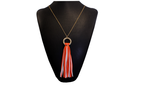 Clemson Ladies' Orange and White Tassel Necklace