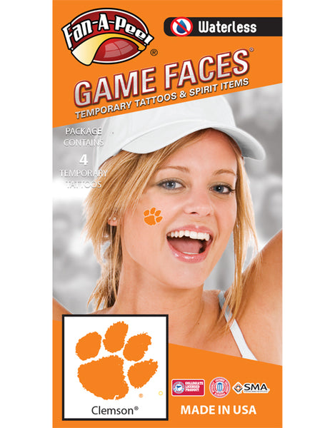 Clemson University Temporary Waterless Tattoos