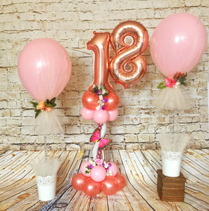 Pink and rose gold Balloon Centrepieces