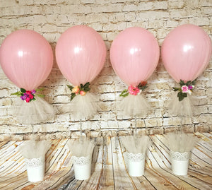 Tulle wrapped balloon centrepiece