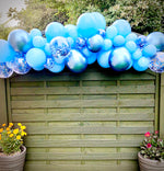 Pale Blue,Chrome Blue and confetti Balloon Garland