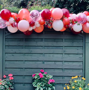 Rose Gold Burgundy white and Pastel Pink Balloon Garland